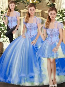 Floor Length Blue Quinceanera Gown Strapless Sleeveless Lace Up