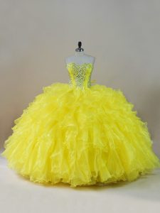 Gorgeous Yellow Lace Up Quinceanera Dresses Beading and Ruffles Sleeveless Floor Length