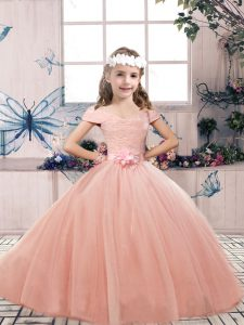 Off The Shoulder Sleeveless Tulle Little Girl Pageant Dress Lace and Belt Lace Up