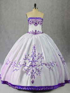 Sleeveless Lace Up Floor Length Embroidery 15 Quinceanera Dress