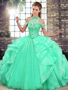 Sumptuous Apple Green Lace Up Sweet 16 Dresses Beading and Ruffles Sleeveless Floor Length
