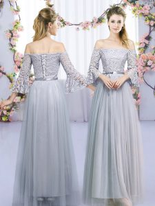 Best Lace and Belt Dama Dress for Quinceanera Grey Lace Up 3 4 Length Sleeve Floor Length
