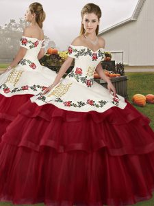 Inexpensive Brush Train Ball Gowns 15 Quinceanera Dress Wine Red Off The Shoulder Tulle Sleeveless Lace Up
