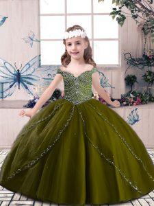 Tulle Straps Sleeveless Lace Up Beading Pageant Dress for Womens in Olive Green