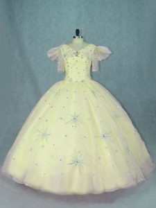 Decent Yellow Ball Gowns Beading Ball Gown Prom Dress Zipper Organza Short Sleeves Floor Length
