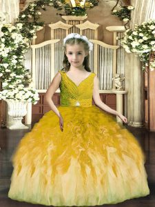 Olive Green Ball Gowns Beading and Ruffles Little Girl Pageant Gowns Backless Tulle Sleeveless Floor Length
