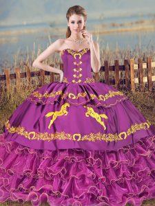 Stylish Purple Sleeveless Brush Train Embroidery and Ruffles Ball Gown Prom Dress