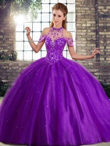 Comfortable Purple Tulle Lace Up Quinceanera Dress Sleeveless Brush Train Beading