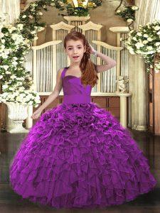 New Arrival Ruffles Kids Formal Wear Purple Lace Up Sleeveless Floor Length