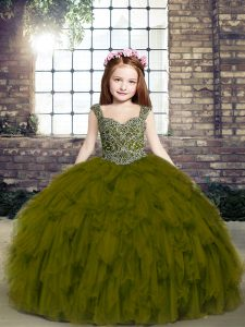 Olive Green Ball Gowns Straps Sleeveless Tulle Floor Length Lace Up Beading and Ruffles Little Girl Pageant Dress