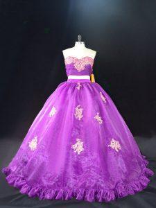 Sleeveless Brush Train Appliques Zipper 15th Birthday Dress