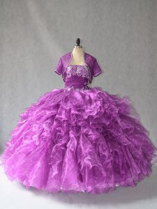 Inexpensive Floor Length Purple Quinceanera Gowns Organza Sleeveless Beading and Ruffles