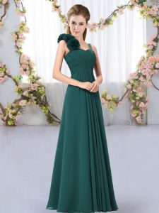 Unique Floor Length Peacock Green Dama Dress for Quinceanera Straps Sleeveless Lace Up