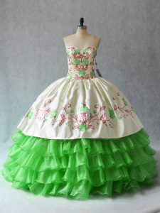 Sweetheart Neckline Embroidery and Ruffled Layers Sweet 16 Quinceanera Dress Sleeveless Lace Up