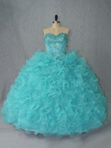 Attractive Sleeveless Organza Lace Up Ball Gown Prom Dress in Aqua Blue with Beading and Ruffles