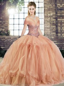 Peach Sleeveless Tulle Lace Up Sweet 16 Quinceanera Dress for Military Ball and Sweet 16 and Quinceanera
