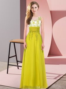 Olive Green Empire Scoop Sleeveless Chiffon Floor Length Backless Appliques Quinceanera Dama Dress
