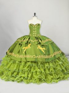 Olive Green Satin and Organza Lace Up Sweetheart Sleeveless Sweet 16 Quinceanera Dress Brush Train Embroidery and Ruffled Layers