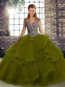 Olive Green Sleeveless Floor Length Beading and Ruffles Lace Up 15th Birthday Dress