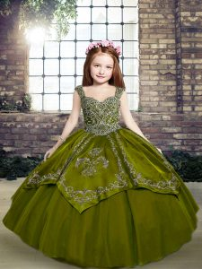 Floor Length Olive Green Pageant Gowns For Girls Straps Sleeveless Lace Up