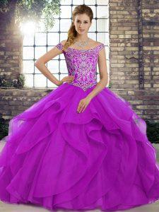 Discount Purple Lace Up 15 Quinceanera Dress Beading and Ruffles Sleeveless Brush Train