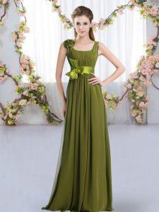 Sleeveless Floor Length Belt and Hand Made Flower Zipper Dama Dress with Olive Green