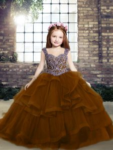 Ball Gowns Little Girls Pageant Dress Wholesale Brown Straps Tulle Sleeveless Lace Up