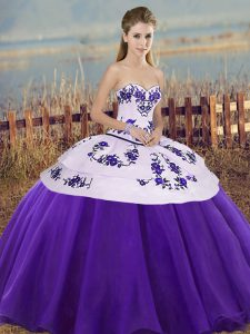 Sweetheart Sleeveless Lace Up Quinceanera Dress White And Purple Tulle