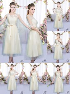 Scoop Sleeveless Quinceanera Court of Honor Dress Tea Length Lace and Belt Champagne Tulle