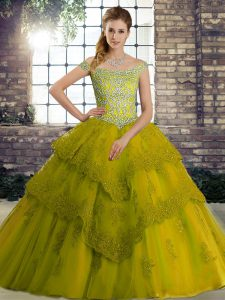 Free and Easy Olive Green Ball Gowns Beading and Lace Ball Gown Prom Dress Lace Up Tulle Sleeveless