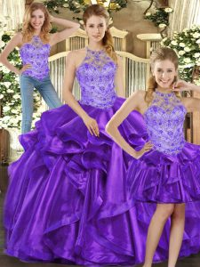 Chic Floor Length Lace Up Sweet 16 Quinceanera Dress Purple for Sweet 16 and Quinceanera with Beading and Ruffles