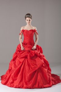 Modest Ruching and Pick Ups and Hand Made Flower Vestidos de Quinceanera Red Lace Up Sleeveless Brush Train