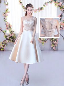 Tea Length Champagne Quinceanera Dama Dress Satin Sleeveless Lace and Belt