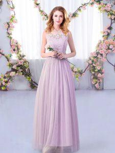 Lavender Sleeveless Lace and Belt Floor Length Damas Dress