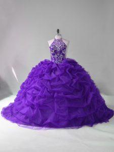 Deluxe Purple Sleeveless Court Train Beading and Pick Ups Vestidos de Quinceanera