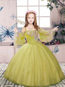 Floor Length Olive Green Pageant Dress Tulle Sleeveless Beading