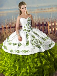 Adorable Sweetheart Sleeveless 15 Quinceanera Dress Floor Length Embroidery and Ruffles Olive Green Satin and Organza