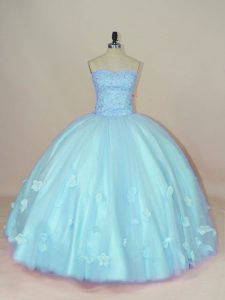 Floor Length Lace Up Sweet 16 Quinceanera Dress Aqua Blue for Sweet 16 and Quinceanera with Beading and Hand Made Flower