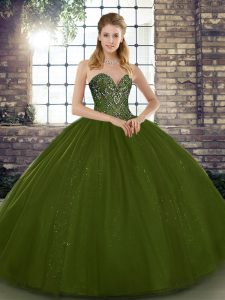 Olive Green Sleeveless Tulle Lace Up Quince Ball Gowns for Military Ball and Sweet 16 and Quinceanera