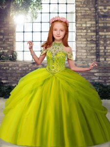 Sleeveless Tulle Floor Length Lace Up Pageant Dress Toddler in Olive Green with Beading