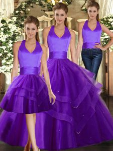 Purple Lace Up Halter Top Ruffles Quince Ball Gowns Tulle Sleeveless