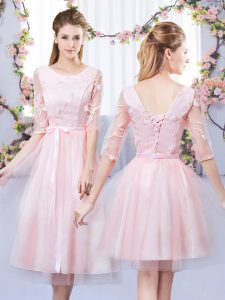 Fashion Baby Pink Tulle Lace Up Scoop Half Sleeves Tea Length Dama Dress for Quinceanera Lace and Belt