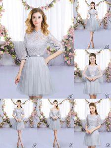Top Selling Grey Zipper High-neck Lace and Belt Vestidos de Damas Tulle Half Sleeves