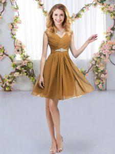 Decent Empire Court Dresses for Sweet 16 Brown V-neck Chiffon Sleeveless Mini Length Zipper