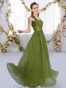 Affordable Chiffon One Shoulder Sleeveless Lace Up Ruching Quinceanera Court of Honor Dress in Olive Green