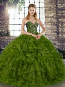 Floor Length Olive Green Quinceanera Gowns Organza Sleeveless Beading and Ruffles