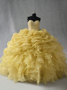 Fabulous Floor Length Yellow Quinceanera Gowns Sweetheart Sleeveless Lace Up