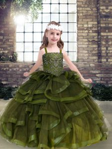 Graceful Tulle Straps Sleeveless Lace Up Beading and Ruffles Custom Made Pageant Dress in Olive Green