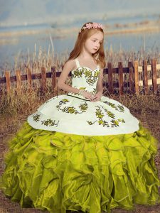 Customized Olive Green Sleeveless Floor Length Embroidery and Ruffles Lace Up Kids Pageant Dress