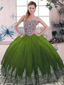 Olive Green Sleeveless Beading and Embroidery Floor Length 15th Birthday Dress